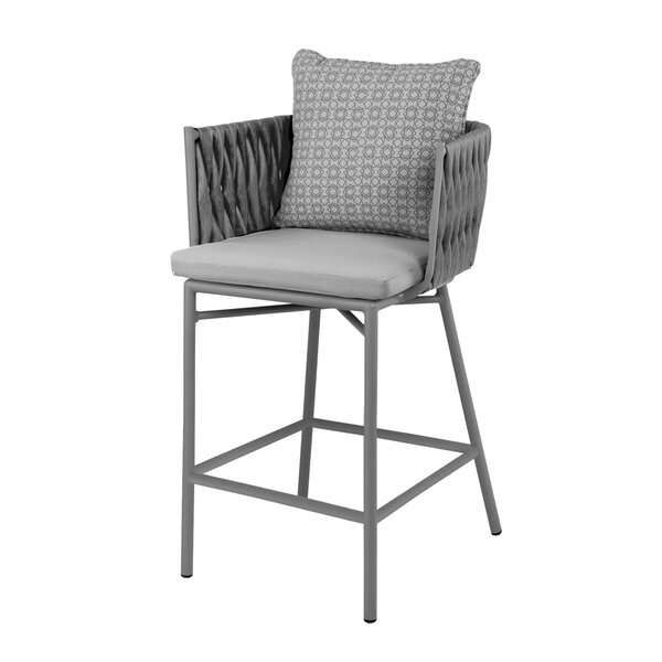 Horton Patio Bar Stool with Cushions by Bungalow Rose