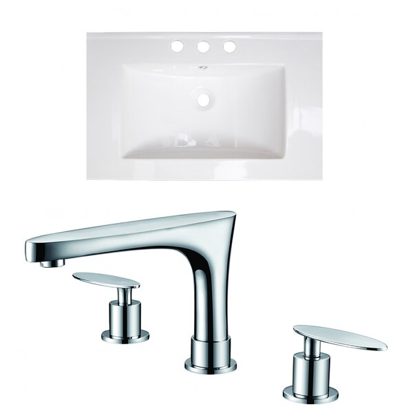 Latshaw 23.75 Single Bathroom Vanity Top in White with Sink and Faucet