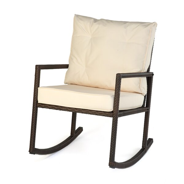 Rattan Rocker Chair with Cushion by Trademark Innovations