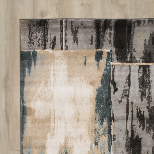 Kessinger Machine Woven Gray/ Black Area Rug by Latitude Run