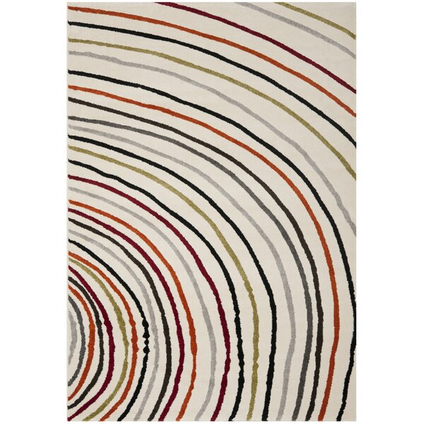 Charis Striped Ivory Area Rug by Ebern Designs