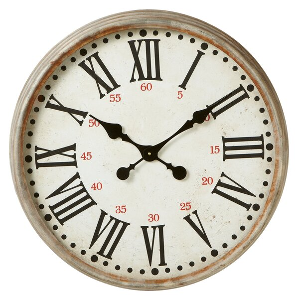 Oversized Albinson Round Distressed 23 Wall Clock by Gracie Oaks