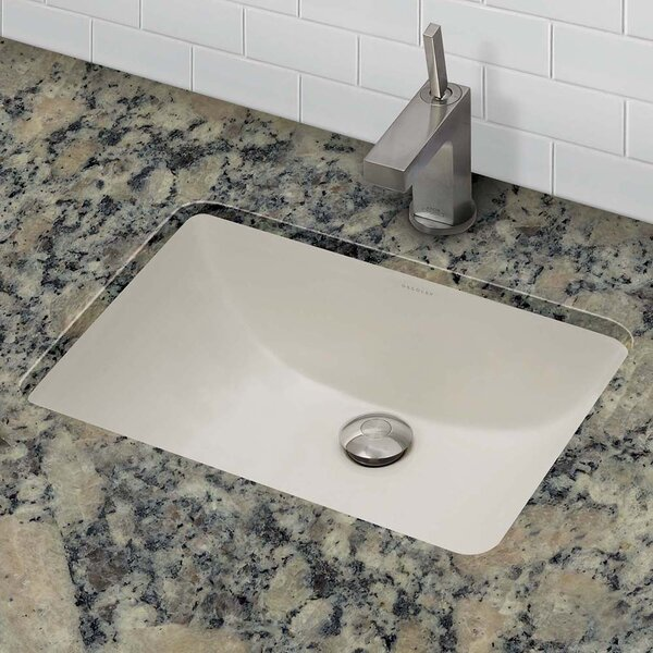 Classically Redefined Callensia Ceramic Rectangular Undermount Bathroom Sink with Overflow by DECOLAV