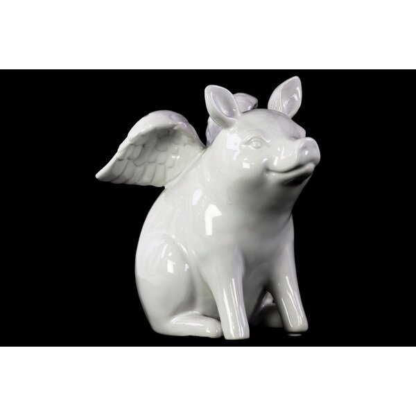 Bowley Winged Pig Sitting Figurine by August Grove
