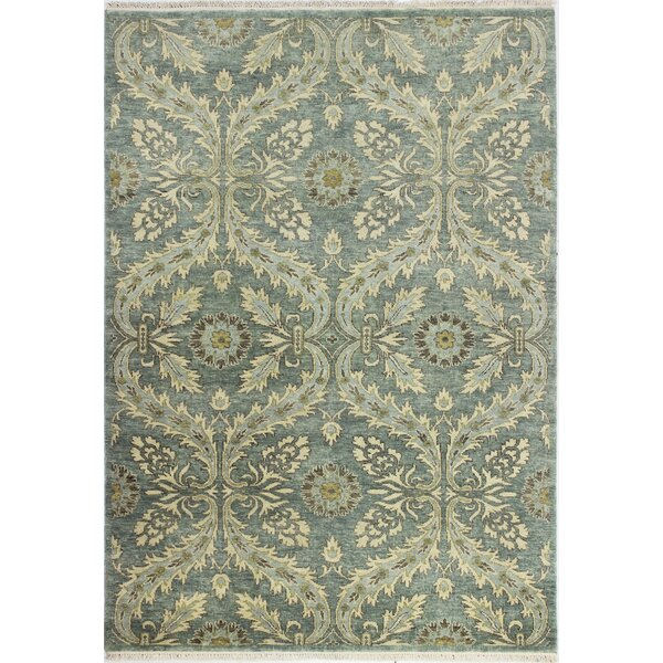 Bartron Hand-Knotted Teal Area Rug by Astoria Grand