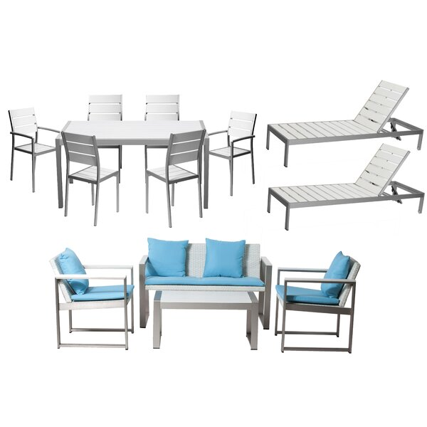 Kiera 13 Piece Complete Patio Set with Cushion by Modern Rustic Interiors