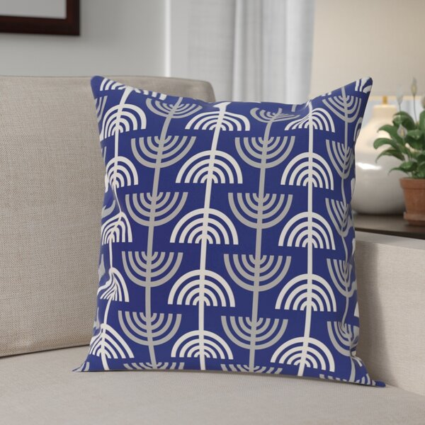 Holiday Geometric Print Menorah Abstract Throw Pillow by The Holiday Aisle