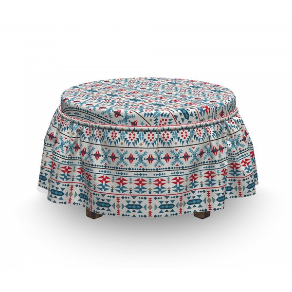 Ethnic Native Traditional Art 2 Piece Box Cushion Ottoman Slipcover Set By East Urban Home