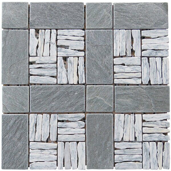 Landscape Wonder 12 x 12 Alternate Granite Blend Mosaic Tile in Gray and Black by Intrend Tile