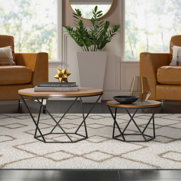 Dunavant Wood 2 Piece Coffee Table Set with Tray Top by Mercury Row