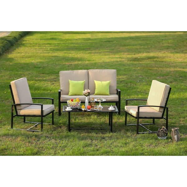 Hedberg 4 Piece Sofa Seating Group with Cushions by Winston Porter