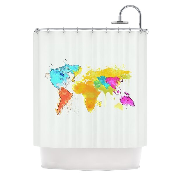 World Map Shower Curtain by East Urban Home