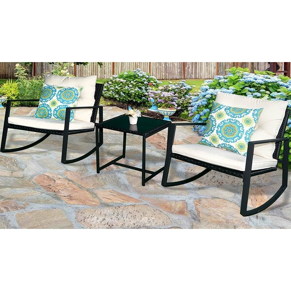 Kemmer Outdoor 3 Piece Rocking Wicker Seating Group with Cushions by Charlton Home