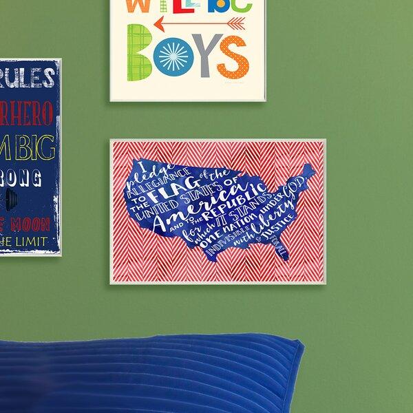 Kleckner Pledge of Allegiance Typography with Chevron Wall Plaque by Zoomie Kids
