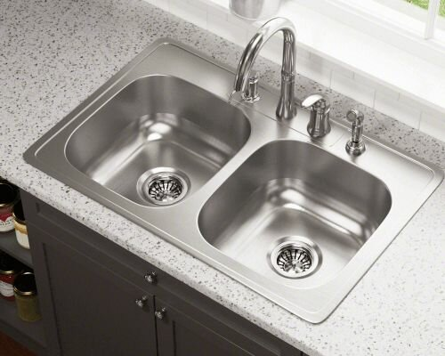 33 L X 22 W Double Bowl Drop In Stainless Steel Kitchen Sink