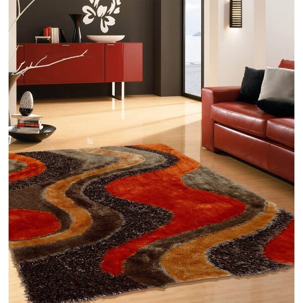 Padang Sidempuan Shaggy Hand-Tufted Brown/Orange Area Rug by Orren Ellis