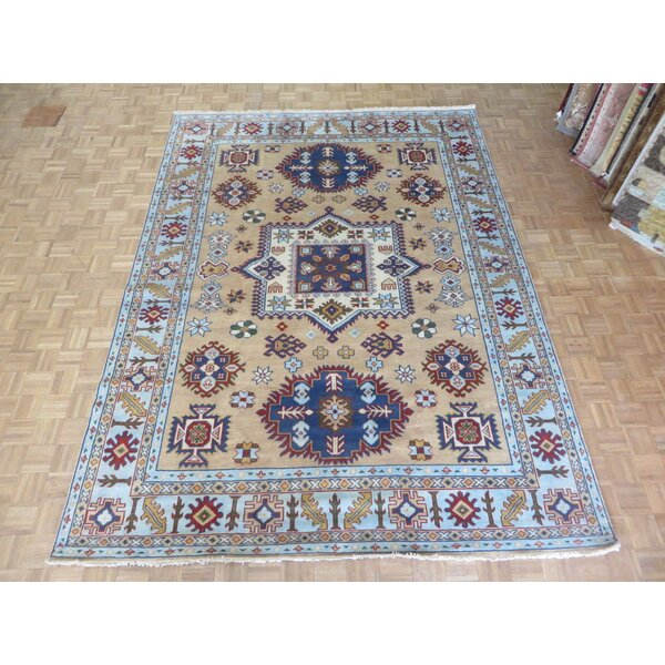 One-of-a-Kind Eliana Tribal Geometric Hand-Knotted Wool Gold/Navy Area Rug by World Menagerie