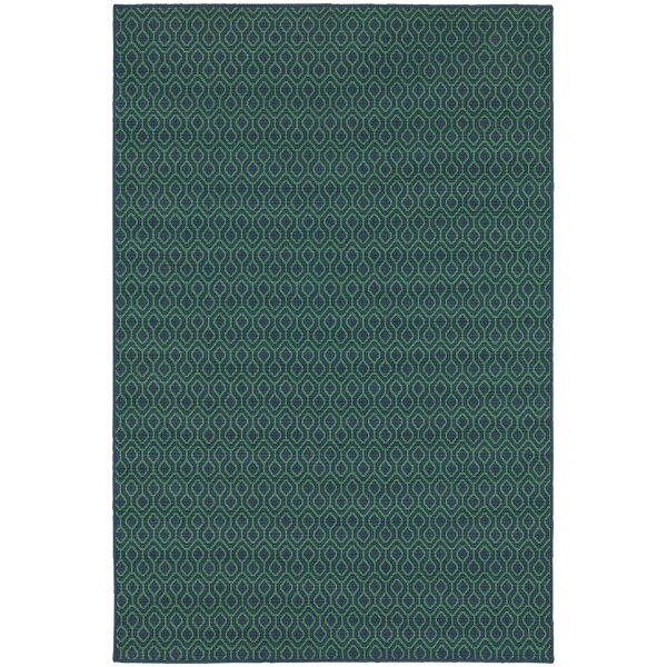 Kailani Trellis Navy/Green Indoor/Outdoor Area Rug by Beachcrest Home