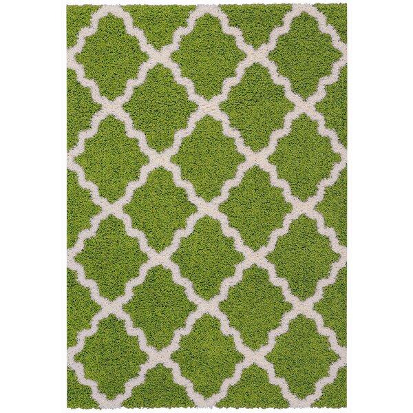 Burns Moroccan Trellis Contemporary Green/Ivory Shag Area Rug by Zipcode Design