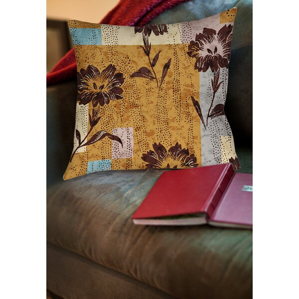 Floral Study in Blocks Printed Throw Pillow by Manual Woodworkers & Weavers