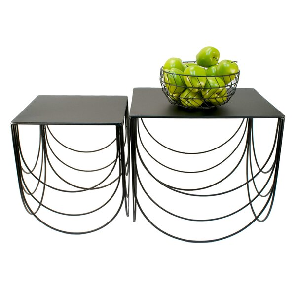 Height Scallop 2 Piece Nesting Tables by Orren Ellis