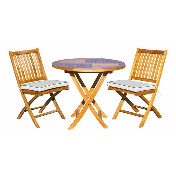 Sthilaire 3 Piece Teak Sunbrella Bistro Set with Cushions by Highland Dunes