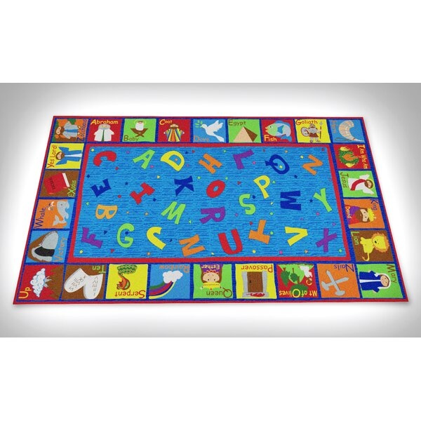 Bible Sunday School with ABCs Blue Area Rug by Kid Carpet