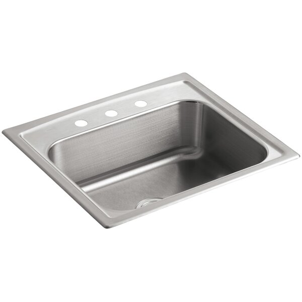 Toccata 25 L x 22 W x 7-11/16 Top-Mount Single-Bowl Kitchen Sink with 3 Faucet Holes by Kohler
