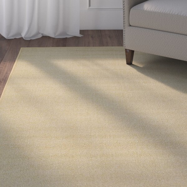 Harland Maxy Home Solid Single Plain Ivory Area Rug by Three Posts