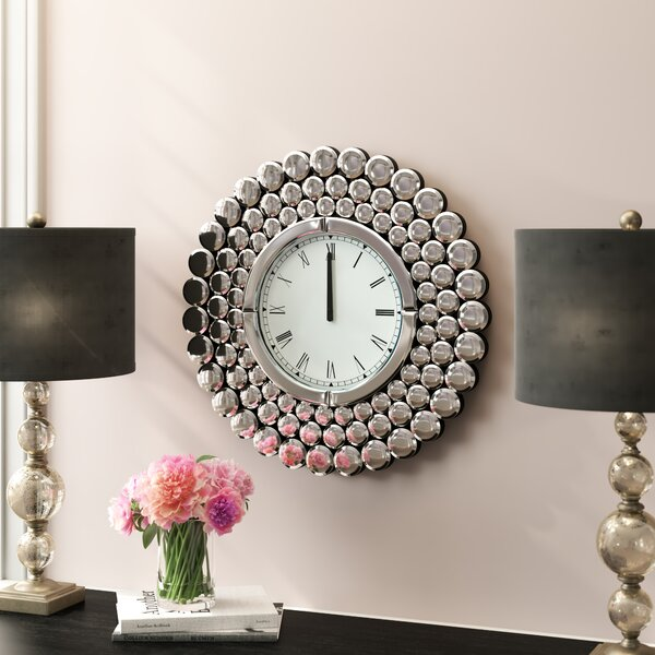 Stesha Oversized 23.5 Round Metal Mirror Wall Clock by Willa Arlo Interiors