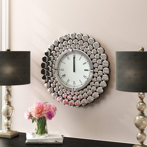 Stesha Oversized 23.5 Round Metal Mirror Wall Clock by Willa Arlo Interiors