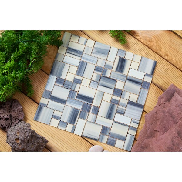 Stella 12 x 12 Glass Mosaic Tile in Creamy Yellow/Gray by Mirrella