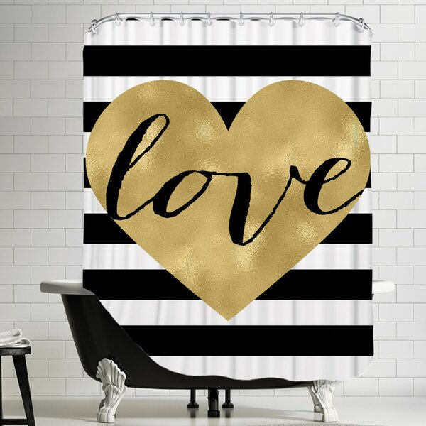Love Heart Shower Curtain by East Urban Home