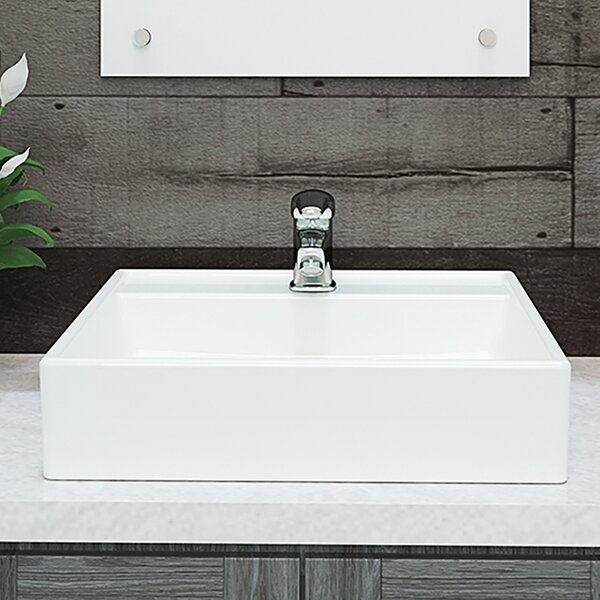 Classically Redefined Aurelia Ceramic Square Vessel Bathroom Sink by DECOLAV