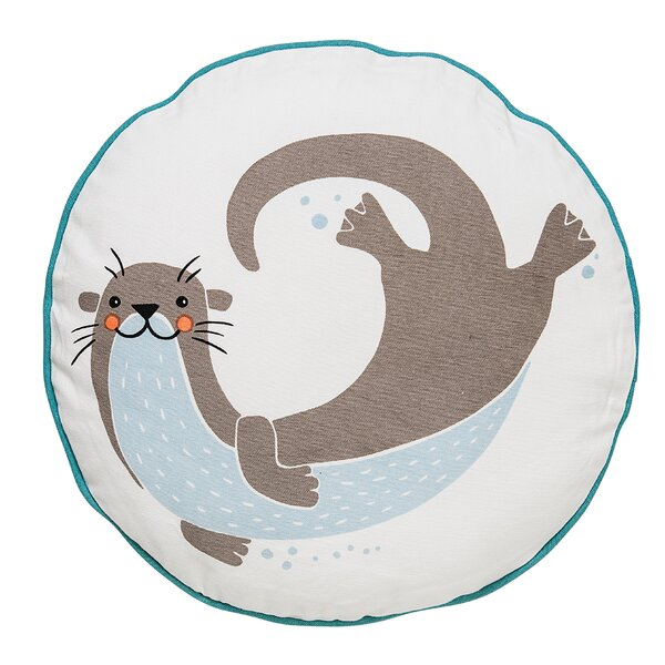 Davon Sea Otter Cotton Throw Pillow by Viv + Rae