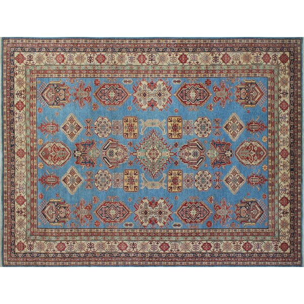 One-of-a-Kind Ashlock Kazak Hand-Knotted Blue Area Rug by Isabelline