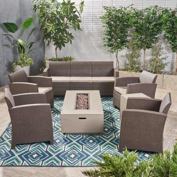 Minturn 7 Piece Rattan Sofa Seating Group with Cushions by Brayden Studio