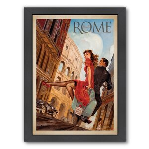 Rome by Vespa Framed Vintage Advertisement by East Urban Home