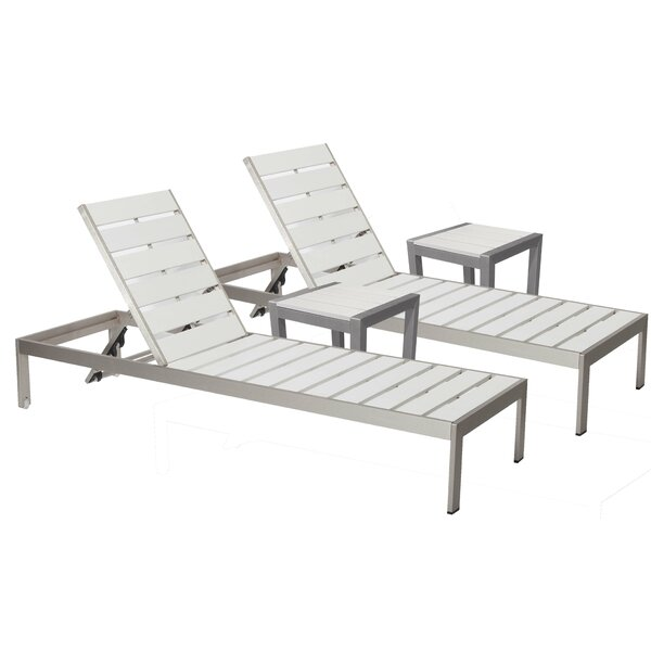JSPH LRG 2 Chaise Lounge Set with Table by Wade Logan