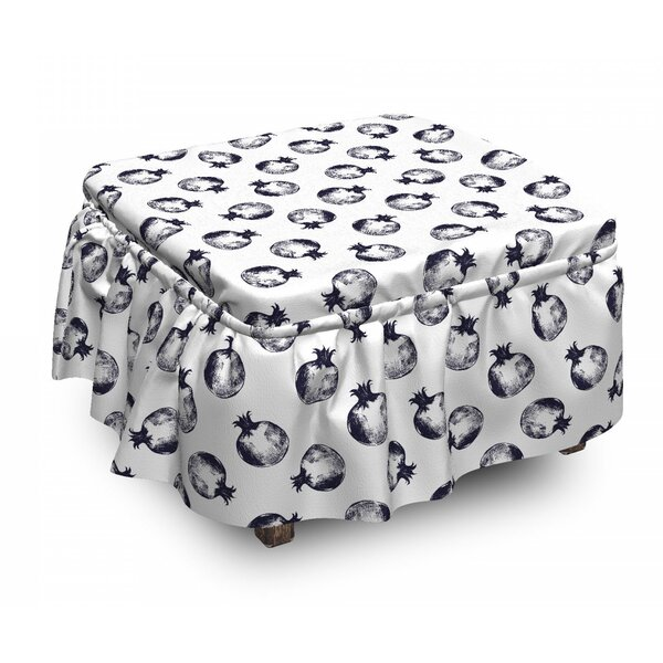 Sketchy Pomegranates Ottoman Slipcover (Set Of 2) By East Urban Home
