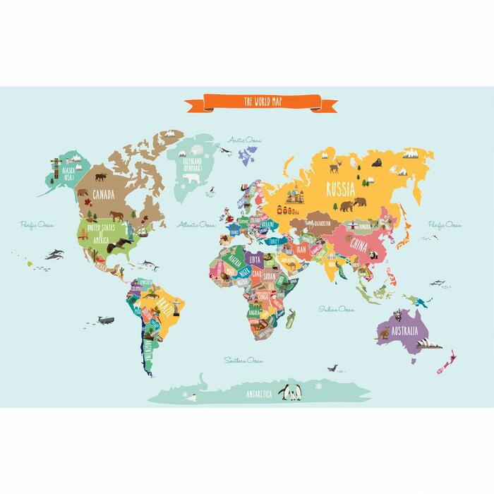 Learn as you go childrens world map poster wall art kids map simpleshapes childrens world map poster wall decal reviews childrens world map poster gumiabroncs Gallery