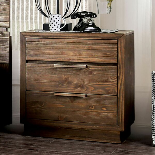 Judith Gap Wooden 3 Drawer Nightstand by Millwood Pines Millwood Pines