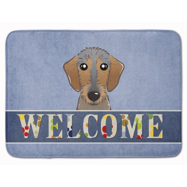Wirehaired Dachshund Welcome Memory Foam Bath Rug by East Urban Home