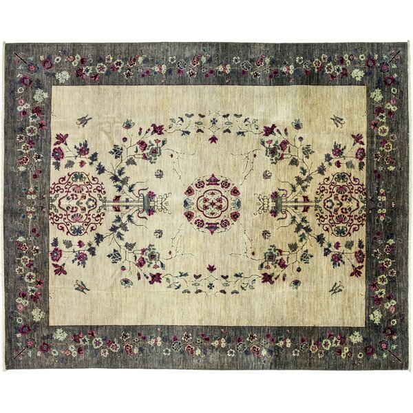 One-of-a-Kind Eclectic Hand-Knotted Ivory/Gray Area Rug by Darya Rugs
