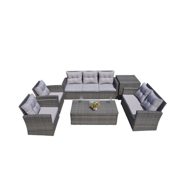 Veronica 6 Piece Rattan Sofa Seating Group with Cushions by Longshore Tides