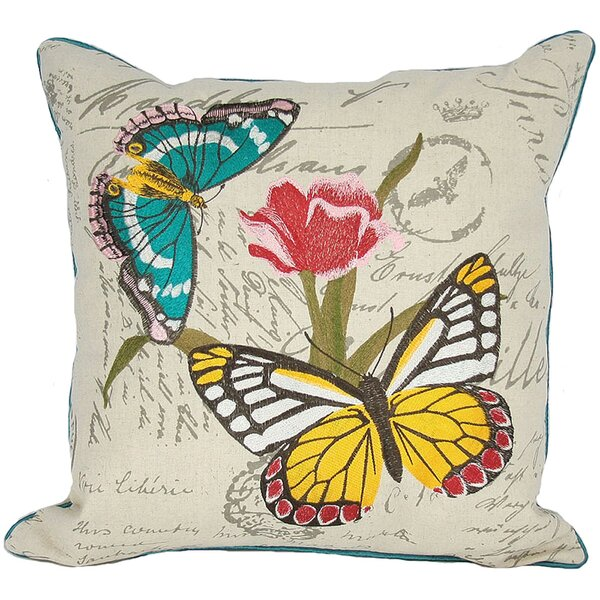 Papillion on Tulip Throw Pillow by Manor Luxe