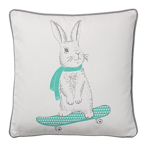 Carson Rabbit on Skateboard Cotton Throw Pillow by Viv + Rae