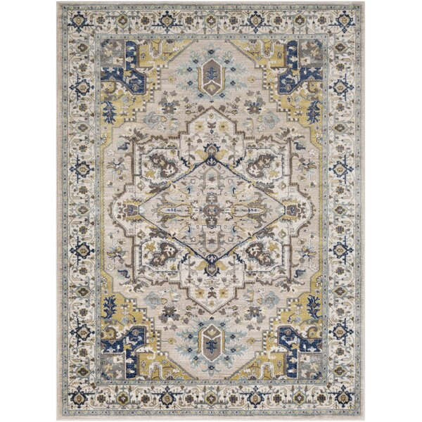 Valmar Floral Cream/Blue Area Rug by World Menagerie