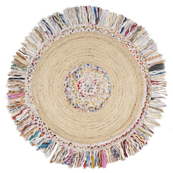 Abhay Hand Woven Round Ivory Area Rug by Bungalow Rose