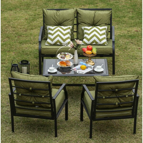 Eggleston 4 Piece Patio Conversation Set with Cushions by Ebern Designs